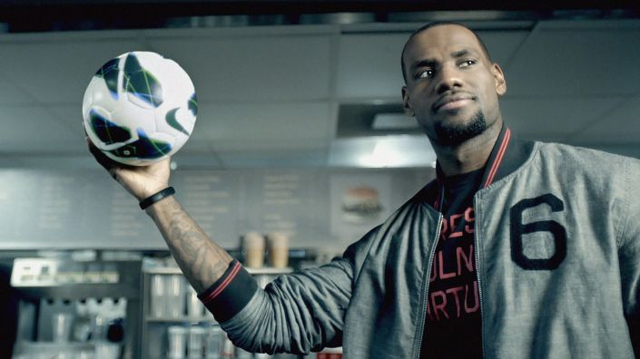 LeBron James makes a cameo in a Nike video about its recycled polyester jerseys. (Nike)